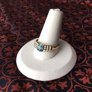 Jewelry - 10 Karat Yellow Gold Blue Topaz & Diamond Ring 💍